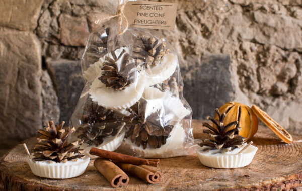 cinnamon & orange pine cone firelighters