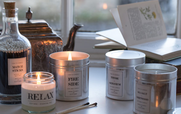 classic can candles with matchsticks